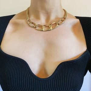 VTG Gold Rectangle Chain Link Necklace